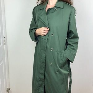Dark Green Trench Coat with Weather Panels